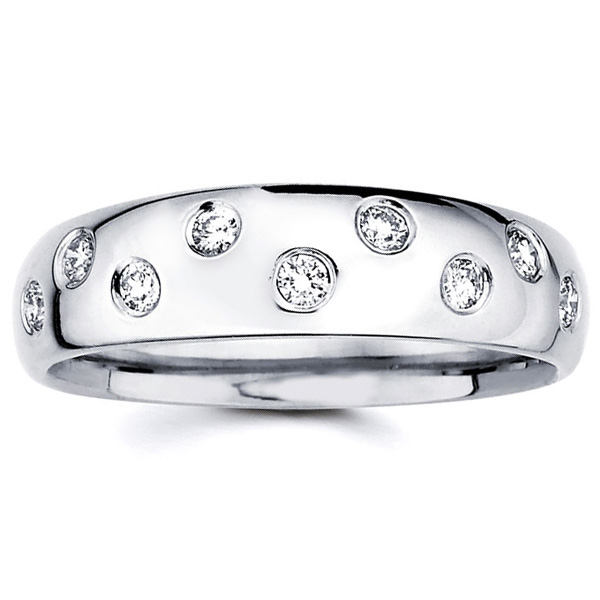 Starlight 7 Stone Diamond Wedding Band In 14K White Gold 17ctw